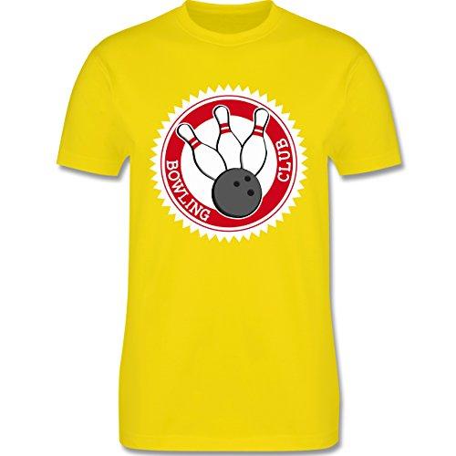 Bowling & Kegeln - Bowling Club Badge Abzeichen - Herren Premium T-Shirt Lemon Gelb