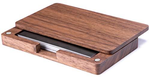 MaxGear Visitenkartenhalter aus Holz, vegan, Visitenkartenetui, Visitenkartenhalter, aus Holz, mit magnetischen Verschlüssen für Damen und Herren (Visitenkartenetui Vegan)