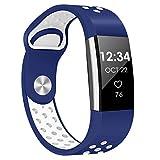 "DigiHero pour Fitbit Charge 2Sangle, de Remplacement Accessoire Sport Band Sangle pour Fitbit Charge 2HR, APL16001951S, 07,Blue White, Small(5.5""-6.7"")"