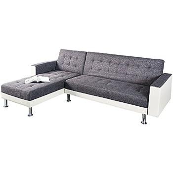 Chaiselongue mit schlaffunktion  Design Ecksofa CHAISE LOUNGE weiß anthrazit mit Schlaffunktion ...