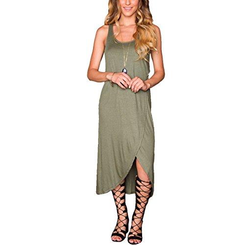 M-Queen Femme Sans Manches Maxi Robe Bohème Bandage Longue Dress Parti Été Plage Robe Vert