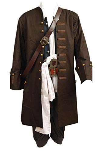 Halloween Sparrow Jack Kostüm - Pirates Of The Caribbean Jack Sparrow Jacke Weste Gürtel Shirt Hose Cosplay Kostüm XXL