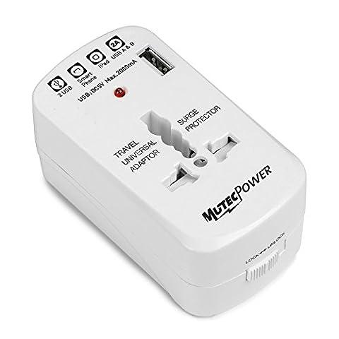 MUTEC POWER Chargeur Adapteur de Voyage pour prise de courant Universel avec 1 port USB