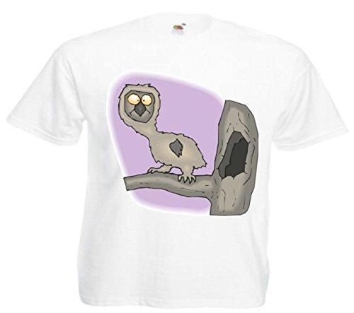 Motiv Fun T-Shirt Überraschte Eule Cartoon Spass Kult Film Serie Motiv Nr. 11617 Weiß