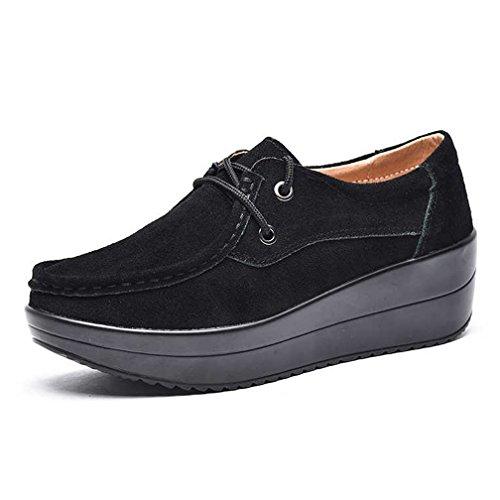 Hishoes Mocassin Femmes Suede Shape-up Chaussures De Marche Léger Chaussures De Sport Black1