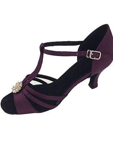 ShangYi Chaussures de danse(Violet) -Non Personnalisables-Talon Aiguille-Satin-Latine / Salsa Purple