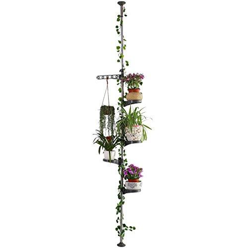 Baoyouni 5-Schicht Indoor Teleskop Pflanzenständer Blumentreppe Metall Blumen Display Rack Federbelastete Spannung Pole Space Saver Blumentopf Hängeregal Blumenregal Pflanzentreppe Regal, Grau