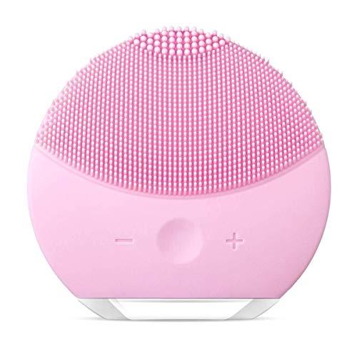 Elettrico spazzola di pulizia del viso dispositivo pulizia viso in silicone molto delicato e adatto a tutti i tipi di pelle impermeabile,ricaricabile,per la pulizia e il massaggio del viso (rosa )