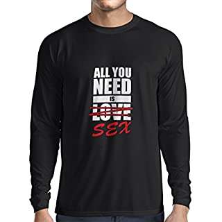 lepni.me Langarm Herren T Shirts Alles, was ich Brauche, ist lustiges Geschenk, Erwachsene Humorkleidung (Small Schwarz Fluoreszierend)