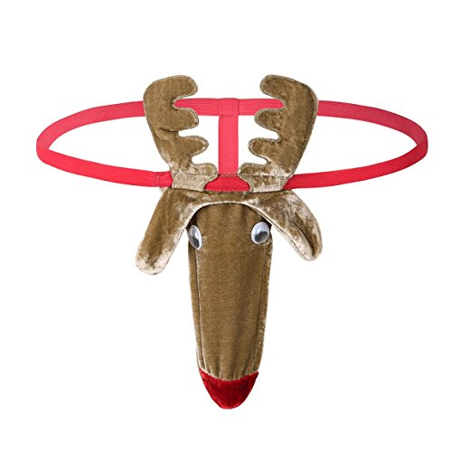 Freebily Herren Strings Thong Tanga G-String Reindeer Bikini Lustig Unterwäsche Chrismas Weihnachten Kostüm Funny Unterhose