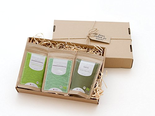 Tee-Geschenke: Grüner Tee Bio-GYOKURO KUSANAGI Super-Premium, Bio-GENMAICHA 'N' MATCHA Premium, Bio-KUKICHA, Premium. Je 50 g, gesamt 150 g, lose, nicht aromatisiert. Edler japanischer Grüntee aus kleinen Tee-Garten (Jasmin Tee Grüner Koffein Frei)