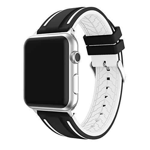 VRTUR Armband Band Ersatzarmband Uhrenarmband Wechselarmband Smartwatch ZubehöR Zweifarbiges Silikonarmband Mit Blumenmuster (,Weiß)