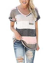 Yidarton Tee Shirt Femme Manche Courte Casual Été Col V Rayures Colorées Mode Top Blouse Haut