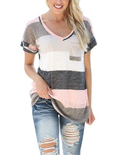 Yidarton Damen Tops Sommer Buntes Gestreiftes Loose Kurzarm V-Ausschnitt Shirt Hemd Bluse T-Shirt (XXL/ EU 44-46, Rosa) (V-ausschnitt Zurück Tunika)