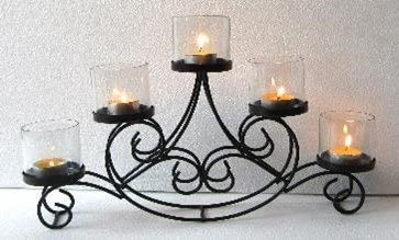 Smart Buying Five Arms Candle Holder with Metal Table Top Candle Stand (Black)