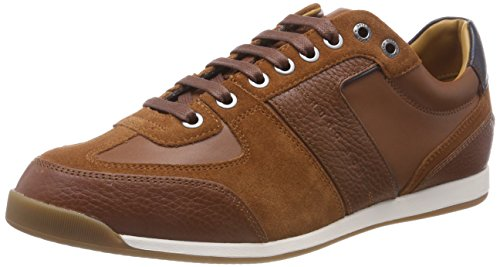 BOSS Herren Glaze_Lowp_tbsd Sneaker, Braun (Medium Brown 210), 43 EU - Leder Braun Boss Hugo