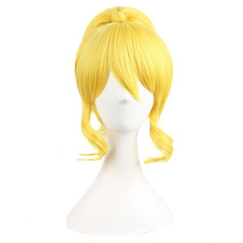 Peluca amarilla con recogido para mujer