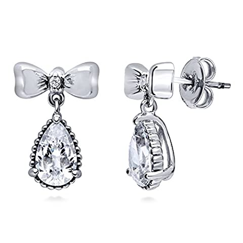 BERRICLE Rhodium Plated Sterling Silver Cubic Zirconia CZ Bow Tie Fashion Dangle Drop Earrings