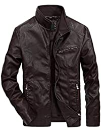846af38b77566 Wenchuang Giacca in Pelle Pu per Uomo Stand Collare Slim Fit Vintage Zip  Biker Giubbotto