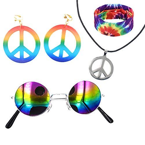 Cool Cartoon Kostüm Zeichen - Hippie Kostüm Set 5 Stück für Frauen Männer Kinder, Tie Dye Stirnband/Kopftuch, Rainbow Peace Sign Halskette und Ohrringe Anhänger, Hippie Sonnenbrille, 60er oder 70er Jahre Hippie Dressing (dunkel)