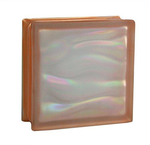 6 piezas BM bloques de vidrio AGUA perla naranja satinado por dos lado (vidrio mate) 19x19x8 cm