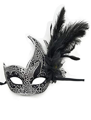 Flywife Pluma Mascarada Máscara Halloween Mardi Gras Cosplay Trajes Veneciano Fiesta Máscara (Agrietar)