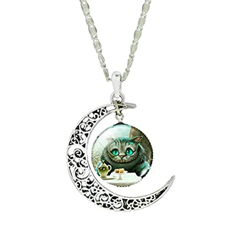 Women Fashion Hollow New Moon Cute Cheshire Cat Art Picture Pendant Choker Necklace