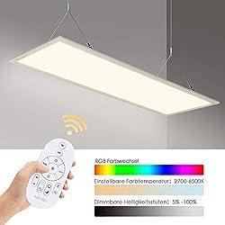 Albrillo 35W LED Panel 120x30cm - Dimmbar RGB Farbwechsel und Farbtemperatur Einstellbar (2700-6500K) Deckenleuchte Inkl. Fernbedienung Montage Klemme, Einstellbare Seilaufhängung und LED Trafo