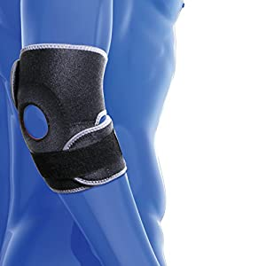 Elbow Support Brace by KEDLEY | Premium quality medical grade neoprene band | One size elbow wrap with supportive strap | Ideal for tennis or golfers elbow, sprains strains and pain relief.