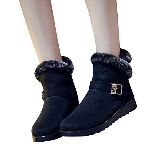 chaussures femme Manadlian Bottes Bottines Femme Wool Lined Suede Boots - Botines d'automne et Hiver des Bottes de Mode des Bottes de Neige - Chaussures de Mouton Plat Bottes