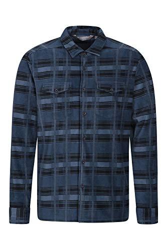 Mountain warehouse camicia uomo in pile - top traspirante, camicia da lavoro anti-piumino, leggera, asciugatura rapida, abbigliamento caldo - per camminare blu x-small