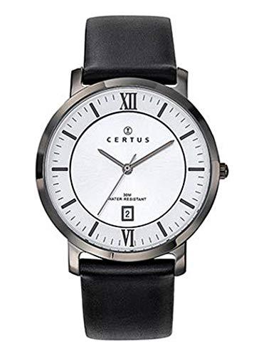 Certus–Reloj Hombre–h611m076–Piel Negro–Caja Acero Gris–Reloj Color Blanco–Fechador