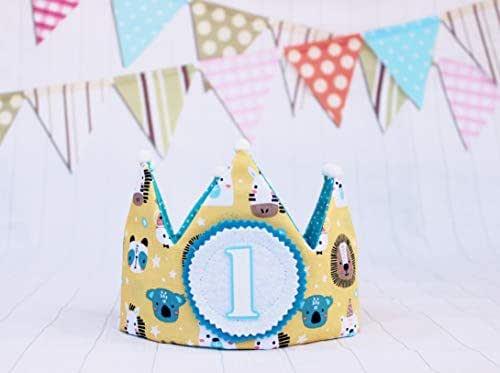 Corona di compleanno in tessuto per neonati e bambini numeri 1,2,3,4,5.