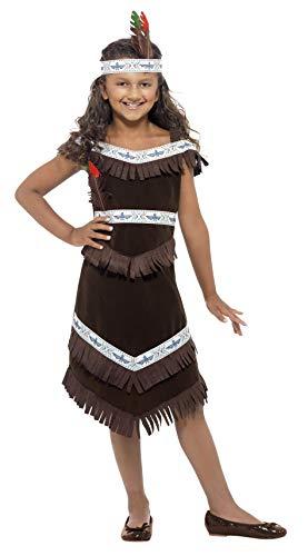Kostüm Kind Pocahontas - Smiffys, Kinder Mädchen Indianerin Kostüm, Fransenkleid und befiedertes Stirnband, Größe: M, 41096