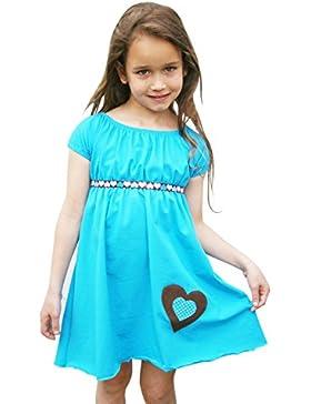 Mädchen Kleid Sommerkleid Carmenkleid Jersey Herz Türkis Lilakind Gr. 86-128