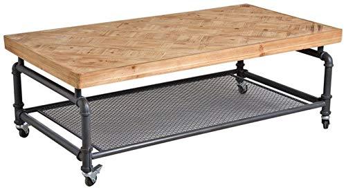 AUBRY GASPARD Table Industrielle sur Roues en Bois et métal