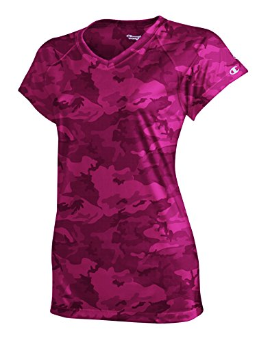 Champion Women's Essential Double Dry V-Neck Tee-2XL-Wow Pink Camo (Tee V-neck Camo)
