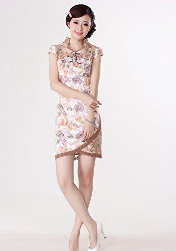 Bigood Robe Mariage Femme Dame Coton Cheongsam Soirée Floral Elégant Multicolore