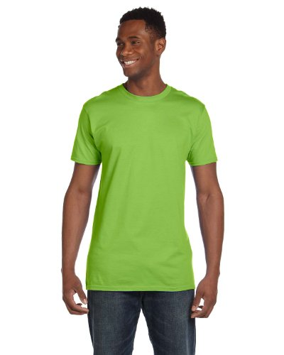 Hanes 4980 Mens Nano T-Shirt 1 Lime + 1 Vintage Gold