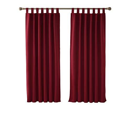 Deconovo Verdunkelungsvorhang Schlaufen Gardinen Schlafzimmer Gardinen Blickdicht 160x132 cm Rot 2er Set