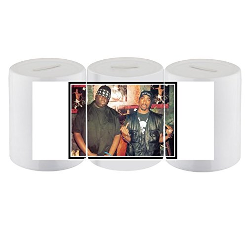 Original 2Pac/Tupac Shakur, groß, Notorious Biggie Smalls Rap Hip Hop Rap-Legenden, Sparschwein, 1Stück, Aufbewahrungs-Box für Bargeld Spardose, Unisex, für Damen, Herren, Jungen und Mädchen