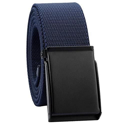 KYEYGWO Unisex Gürtel Verstellbar Einfarbig Stretch Elastisch Web Gürtel mit Flip Top Metallschnalle, Dunkelblau