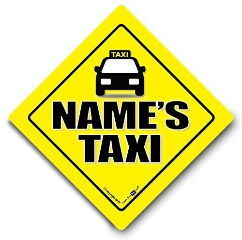 Personalisierter Taxi-Schild, Taxi Auto-Schild, Mini CAB Zeichen, We Will Fügen Sie Ihre ausgewählten Name schwarz Kabel Baby on Board Schild Stil, Board, Aufkleber, Autoaufkleber, Custom
