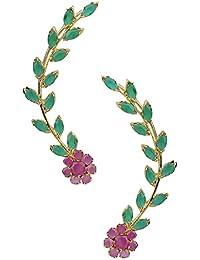 Parijaat Gold Plated Fancy Party Wear Ear cuffs Earrings For Girls and Women