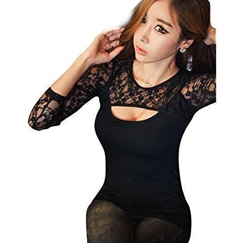 Fortan 1PC Donne Sexy Lace O-Collo manica lunga Lady T-Shirt camicetta casual Top