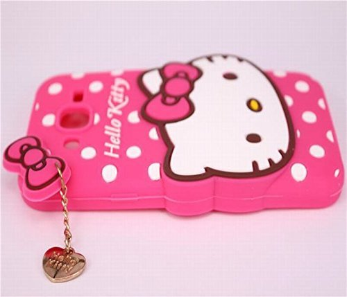 Dream2Cool Printed Hello Kitty Soft Rubber Silicone Pink Back Cover Case for HTC Desire 526 G Plus - (Pink)