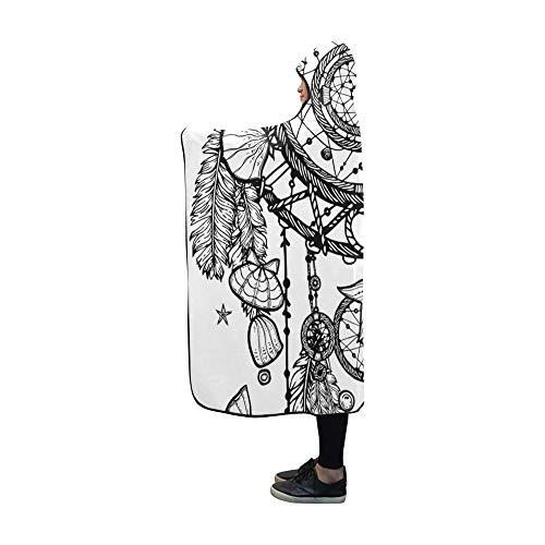 Rtosd Manta con Capucha Manta de Piedras Preciosas Bohemia Dibujada a Mano Manta de 60x50 Pulgadas Envoltura cómoda con Capucha