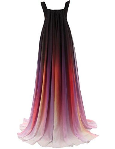 JAEDEN Damen Chiffon Ballkleid Lang Brautjungfernkleid A Linie Abendkleid Rot-3