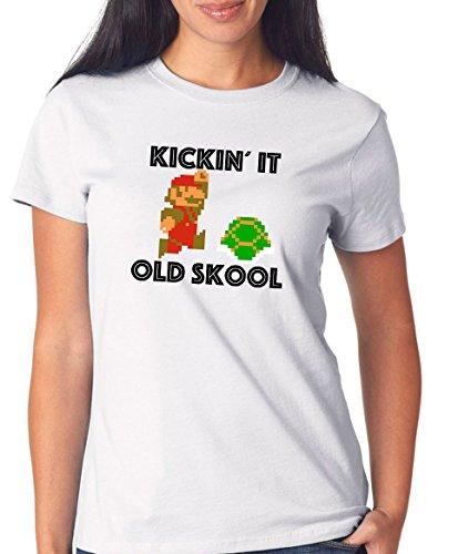 Certified Freak Kickin`It Old Skool T-Shirt Girls White M (Pokemon Psp)