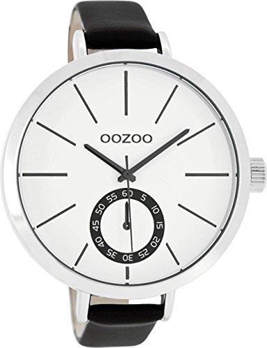 Große Oozoo XXL Damenuhr mit Lederband 48 MM Weiss/Schwarz C8319